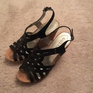 Black and Cork Guess Wedges Size 7M